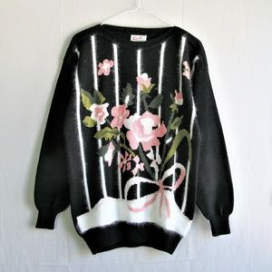 Vintage floral 80s 90s oversized boxy sweater
